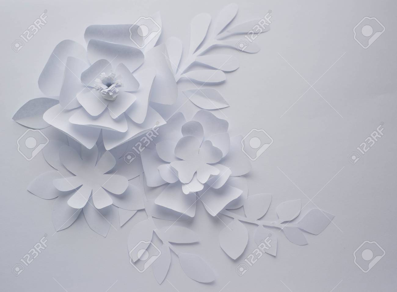 Paper Flower On White Background Paper Craft Flowers Paper