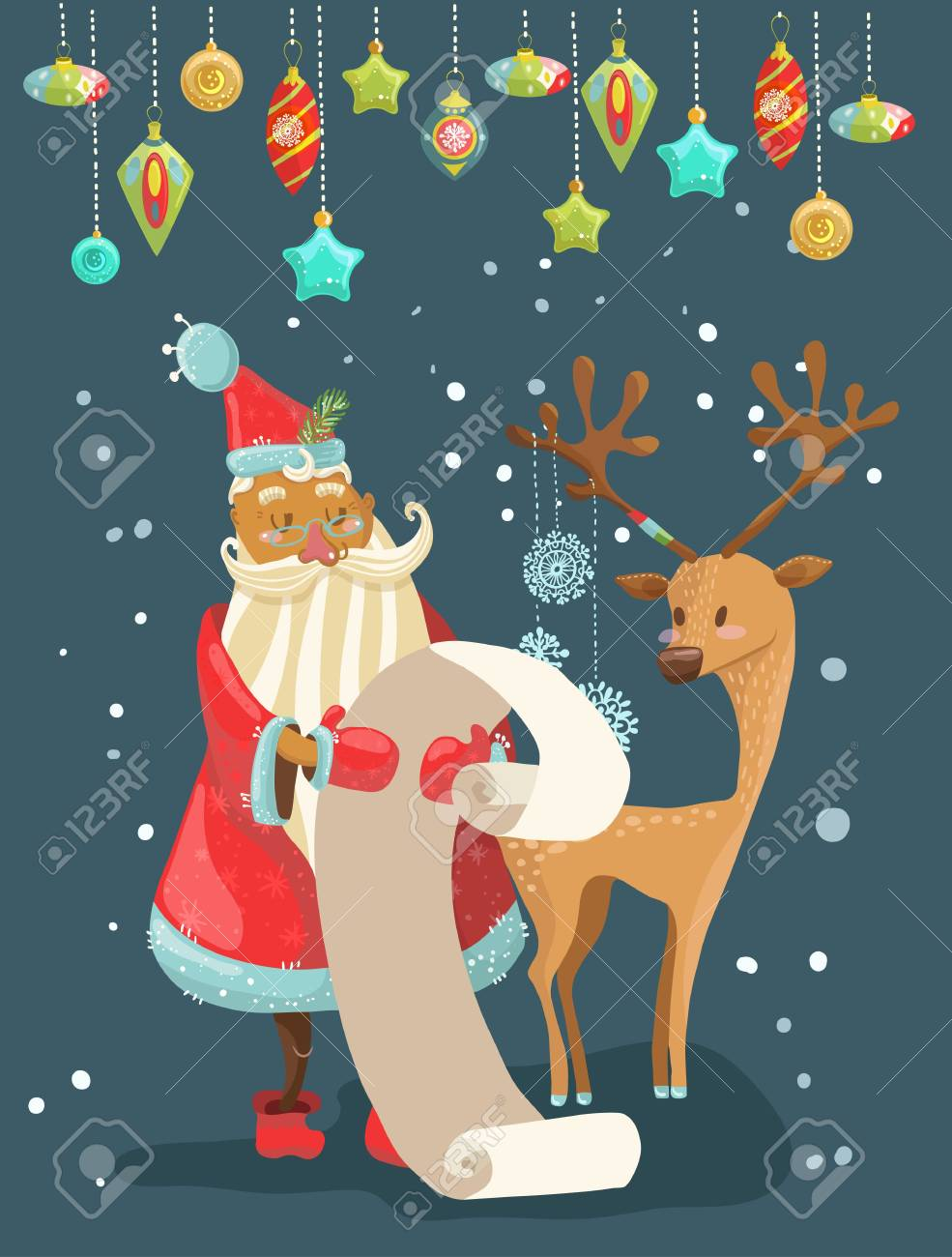 Christmas Wish.Santa Reading A Long Christmas Wish List With Deer Cute Illustration