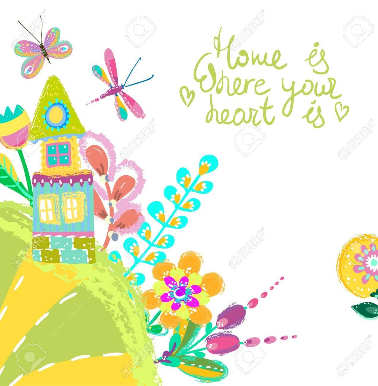 ホーム スイート ホームの図、住宅と花明るい背景。かわいいカラフルな