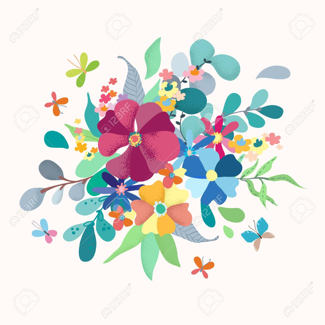 Floral Bouquet With Simple Color Flowers For Beautiful Card Design Royalty Free Cliparts Vectors And Stock Illustration Image 97307443,Royal Blue Wedding Cupcake Designs