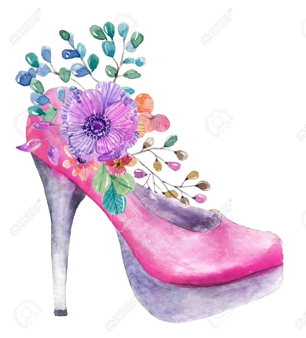 Beautiful Watercolor High Heel Shoe With Flowers Over White Stock