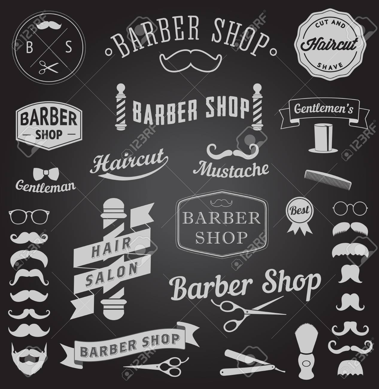 set of barbershop design icons Vector templates for your design - 30679594