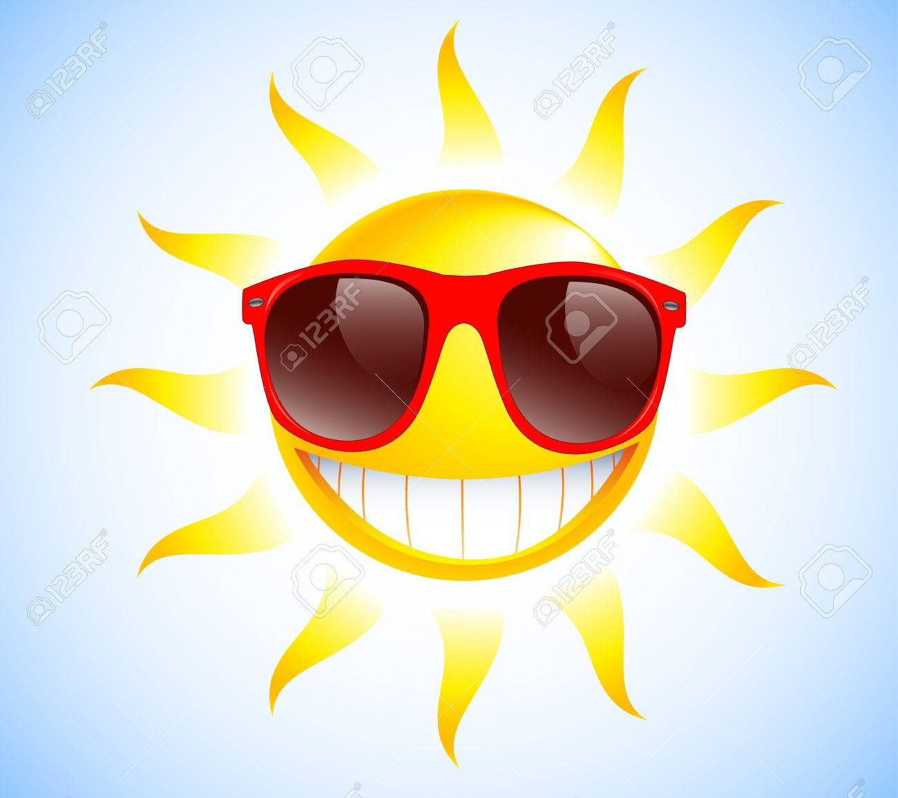 Funny sun with sunglasses Vector illustration background - 30680978