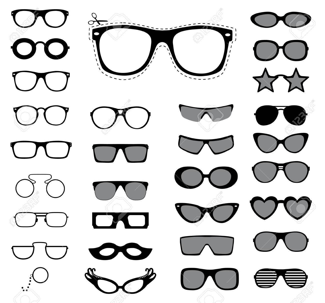 Set of sunglasses and glasses illustration - 31024393
