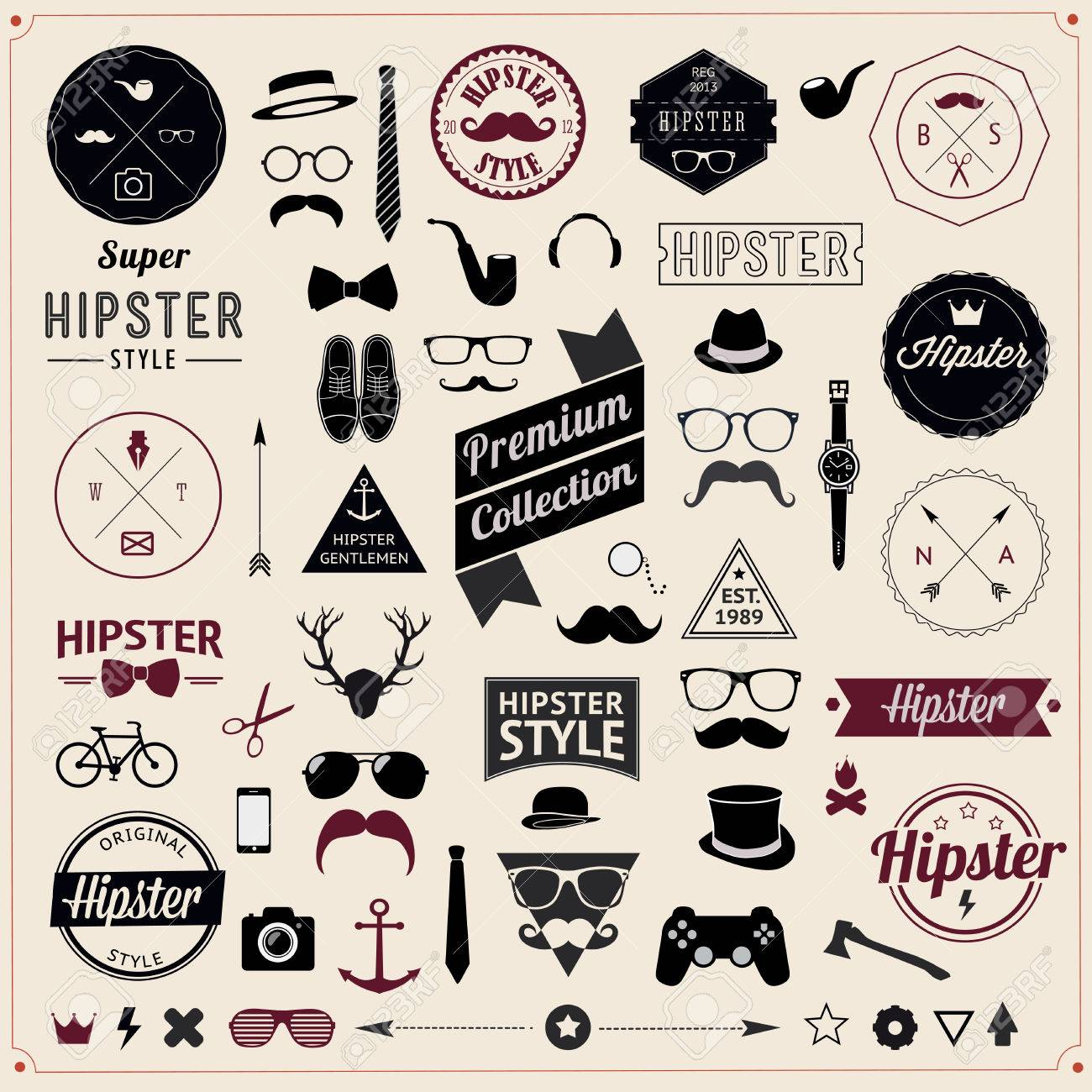 Set of Vintage styled design hipster icons - 31024424