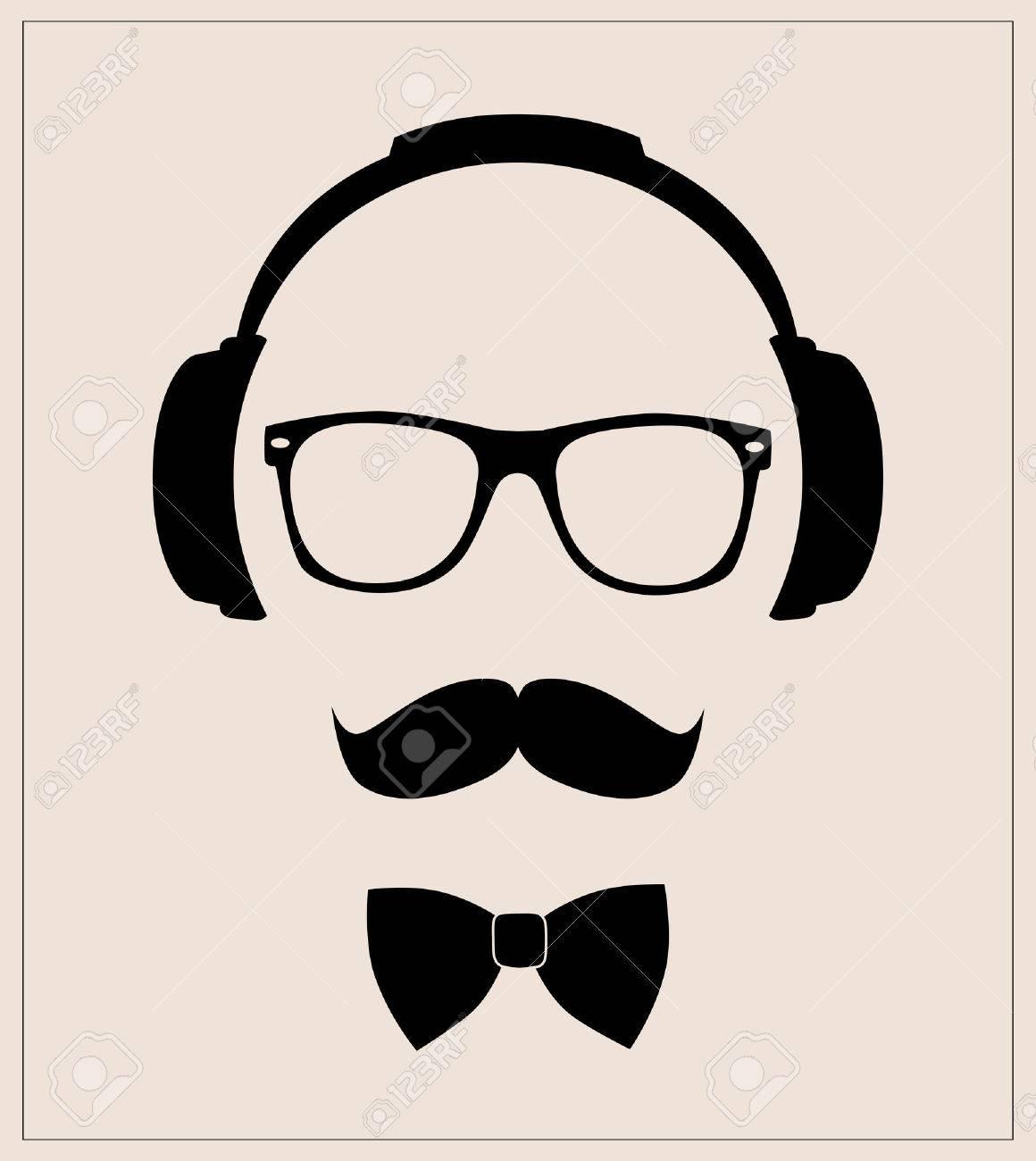Hipster-Stil Satz Fliege, Brille, Schnurrbart, Kopfhörer Abstrakte ...