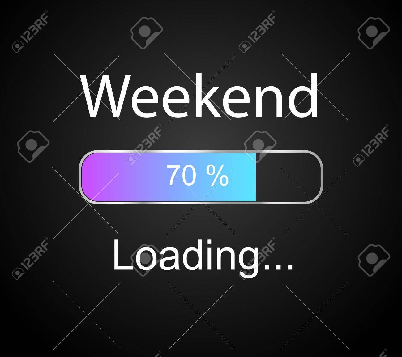 inscription loading Weekend concept illustration background - 31104703