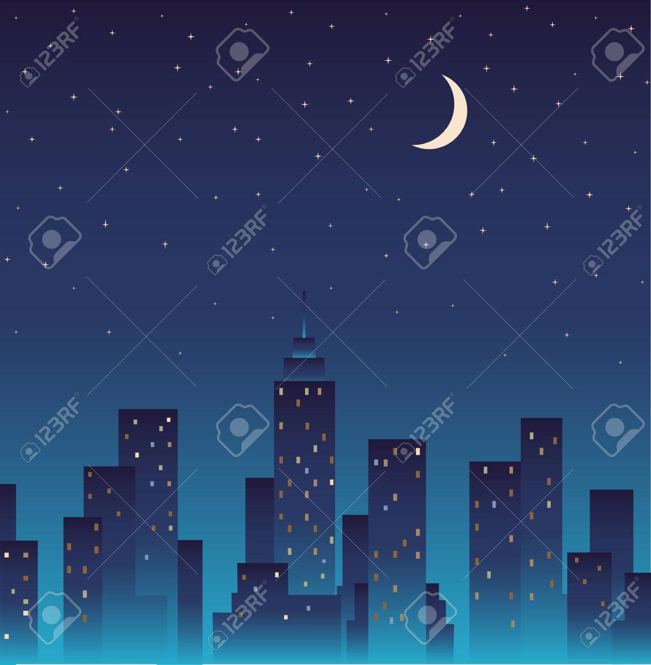 Silhouette of the city and night with stars and moon at the sky. - 31104751