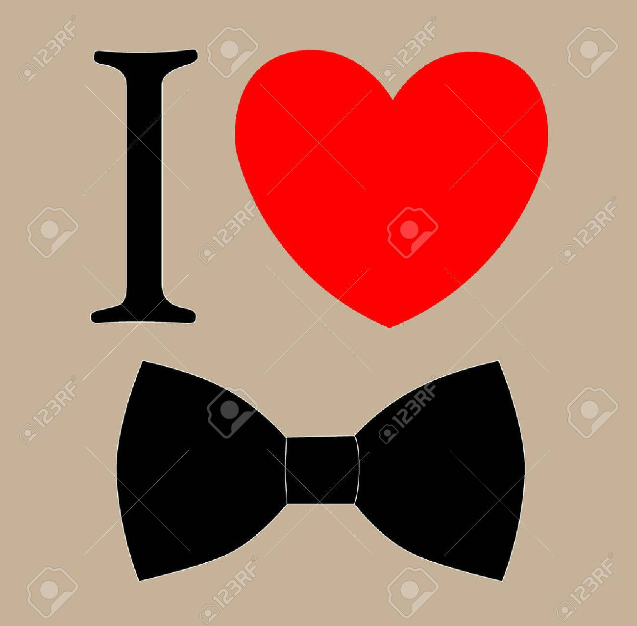print I love bow tie. - 31104756