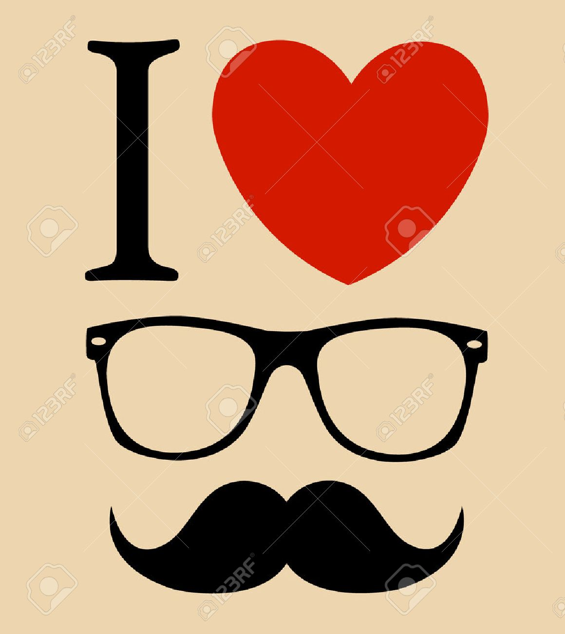 print I love Hipster style, glasses and mustaches. - 31104757
