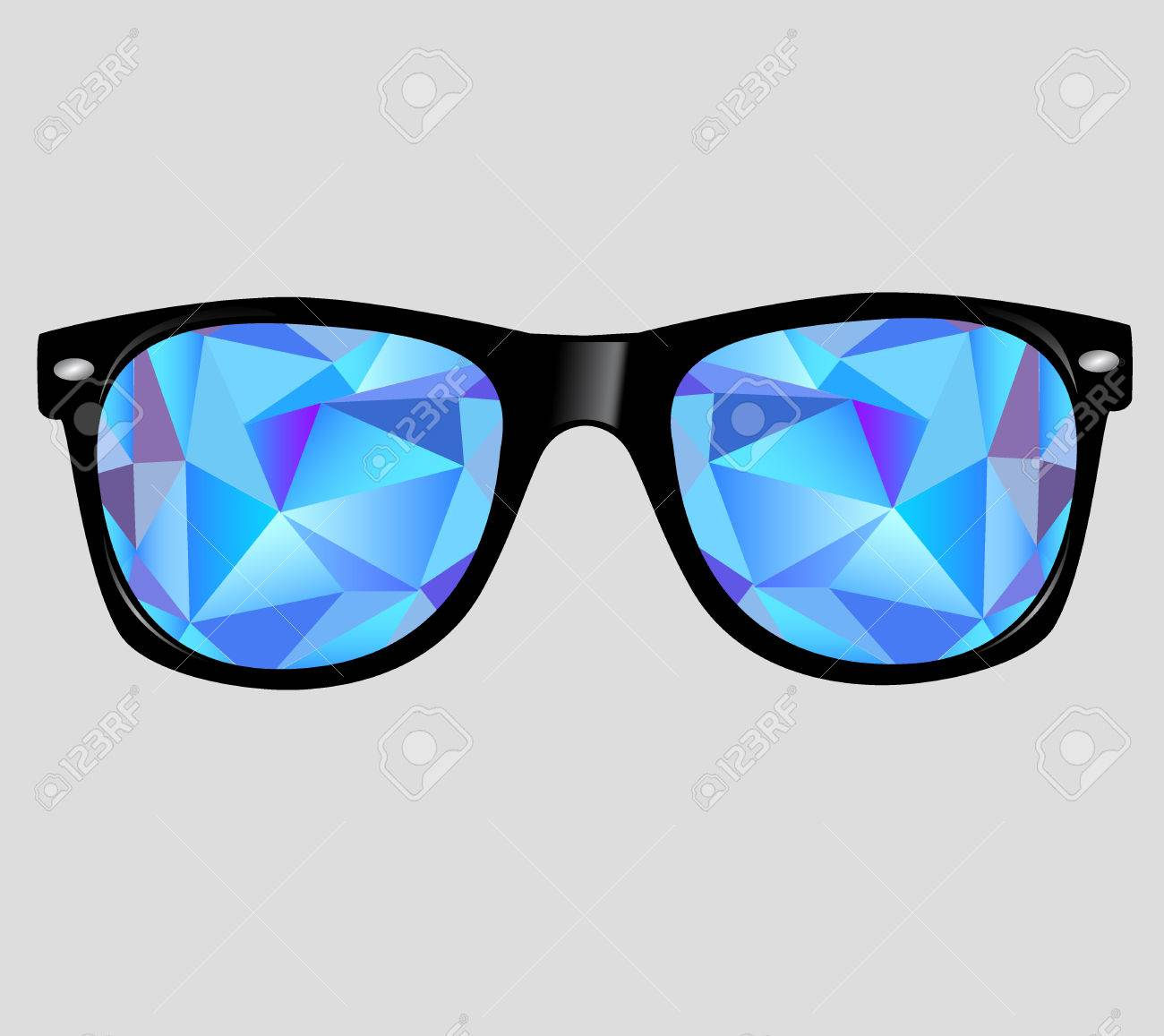 sunglasses with abstract geometric triangles. - 31104817