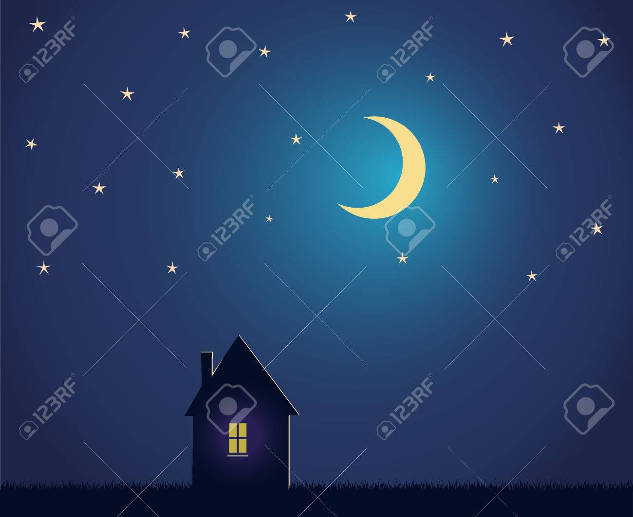 House and night sky with stars and moon. - 31104820