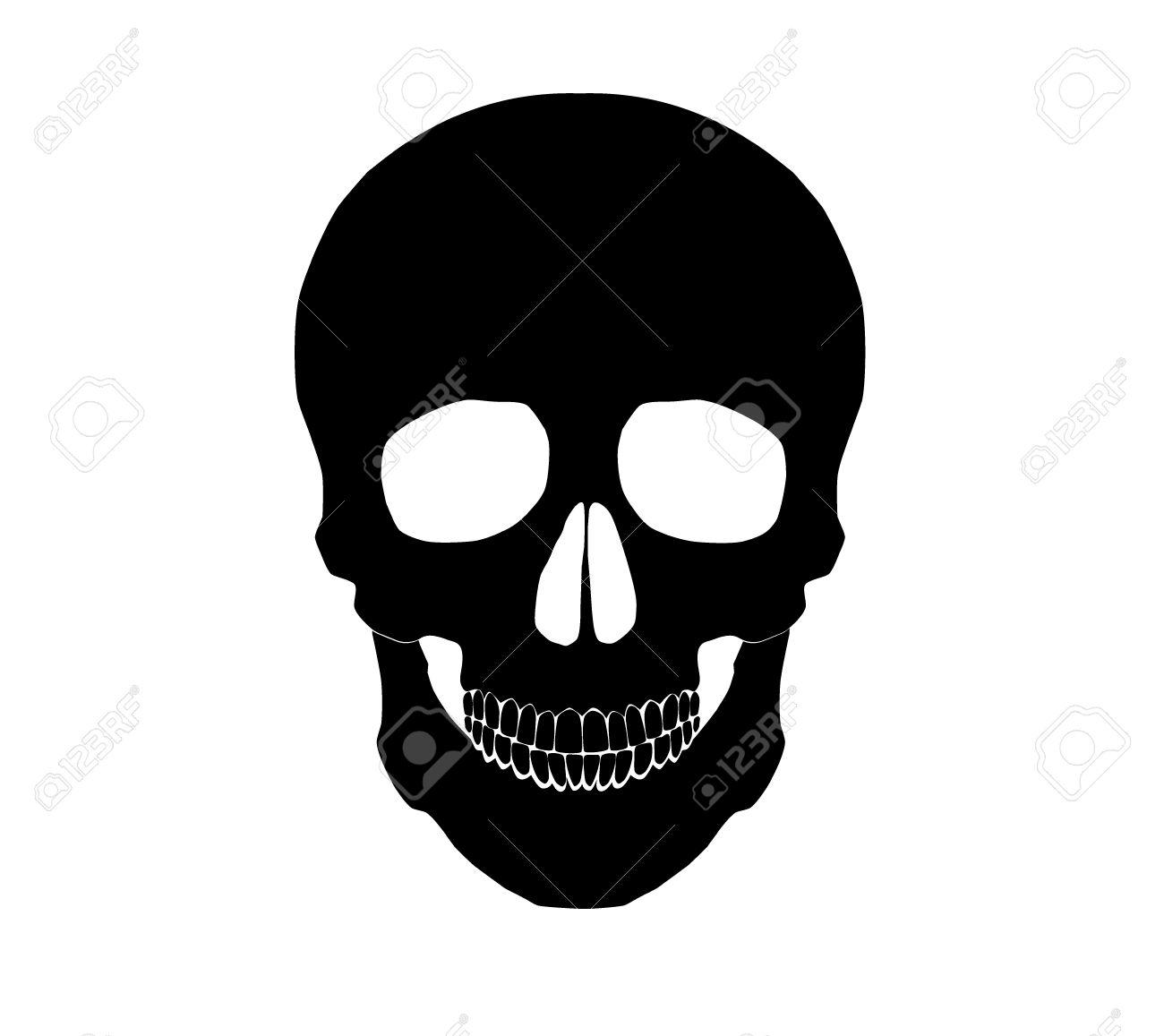 Silhouette Illustration of a human skull. - 31104825