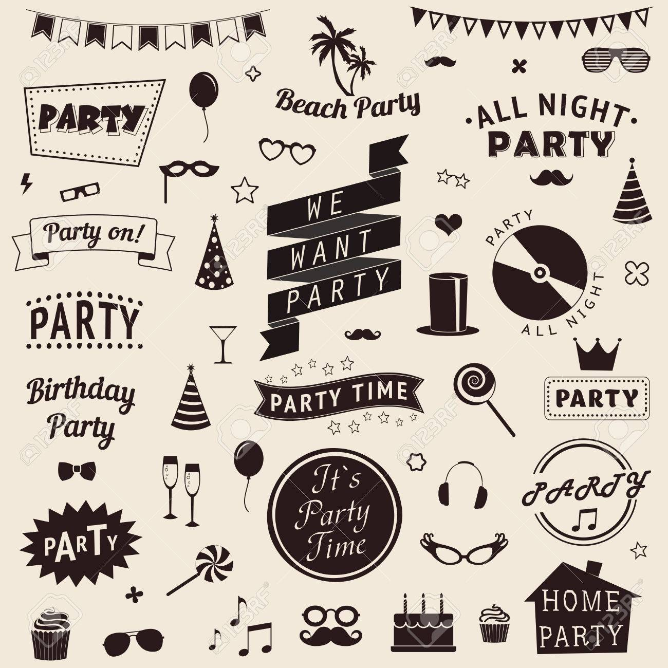 Set of party icons. Vector signs and symbols templates for your design. - 33629246
