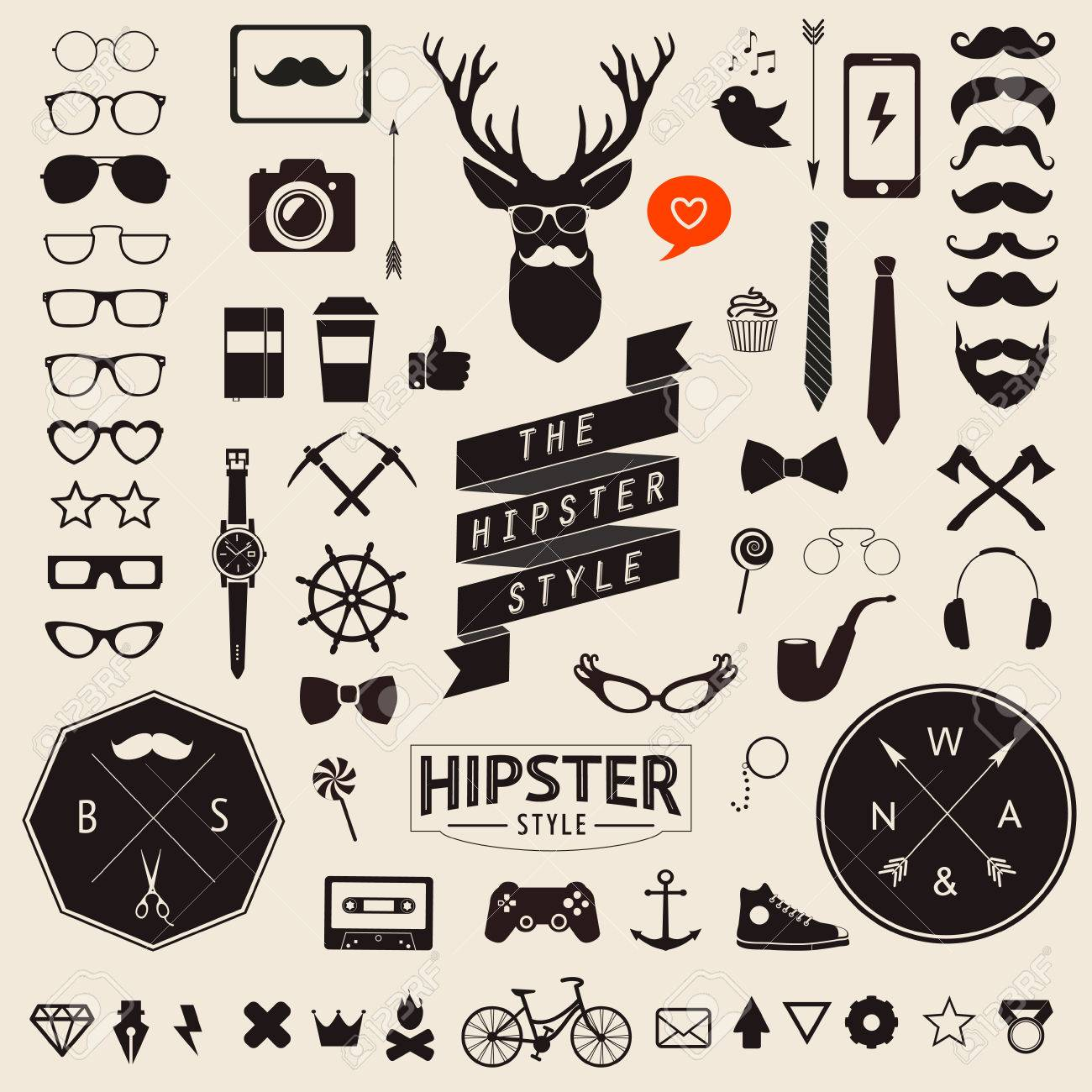 Huge set of vintage styled design hipster icons Vector signs and symbols templates for your design Largest set of phone, gadgets, sunglasses, mustache, infographcs element and other things. - 34157928