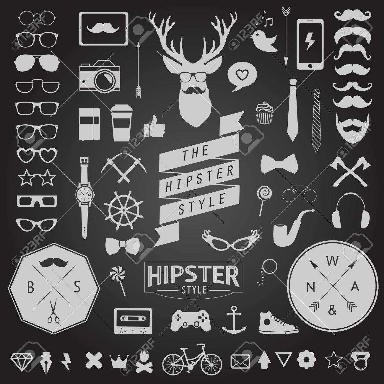 Huge set of vintage styled design hipster icons Vector signs and symbols templates for your design Largest set of phone, gadgets, sunglasses, mustache, ribbons infographcs element and other things - 34866118