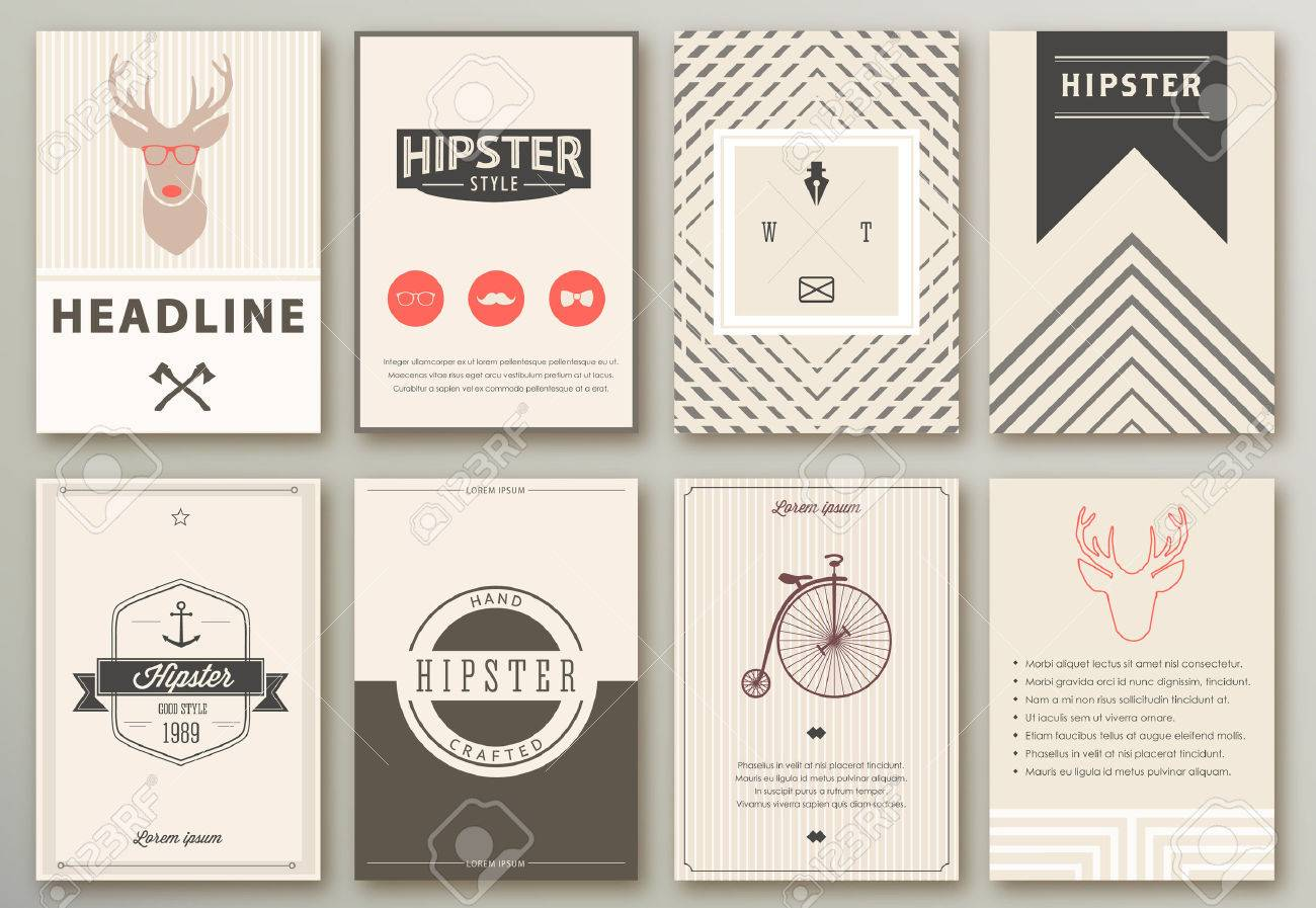 Set of brochures in hipster style - 46285032