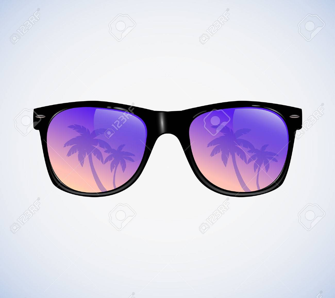 Sunglasses with palms reflection vector illustration - 46285035
