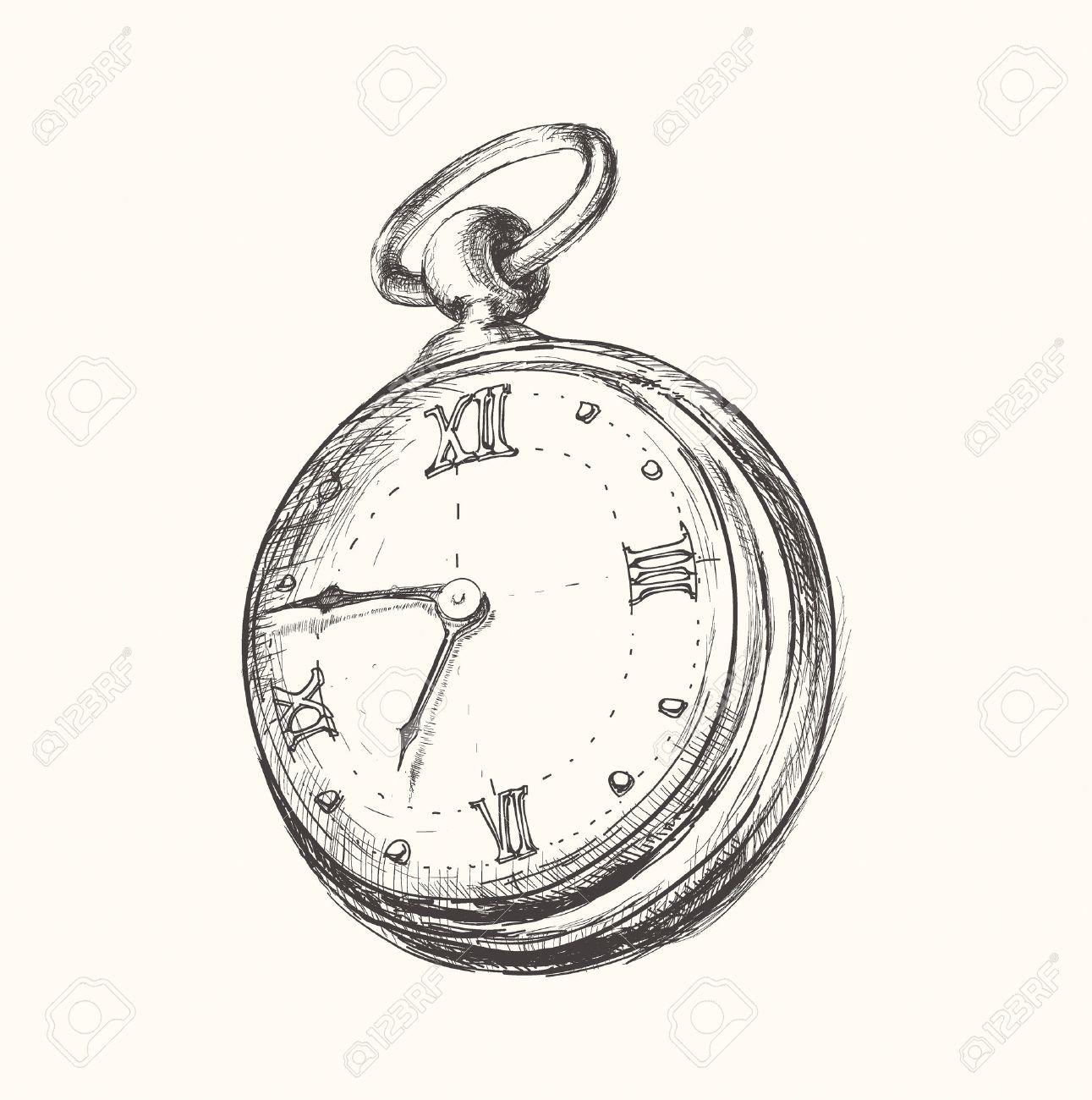 Armbanduhr skizze  Hand Gezeichnet Vintage Watch Uhr Skizze Vektor-Illustration ...