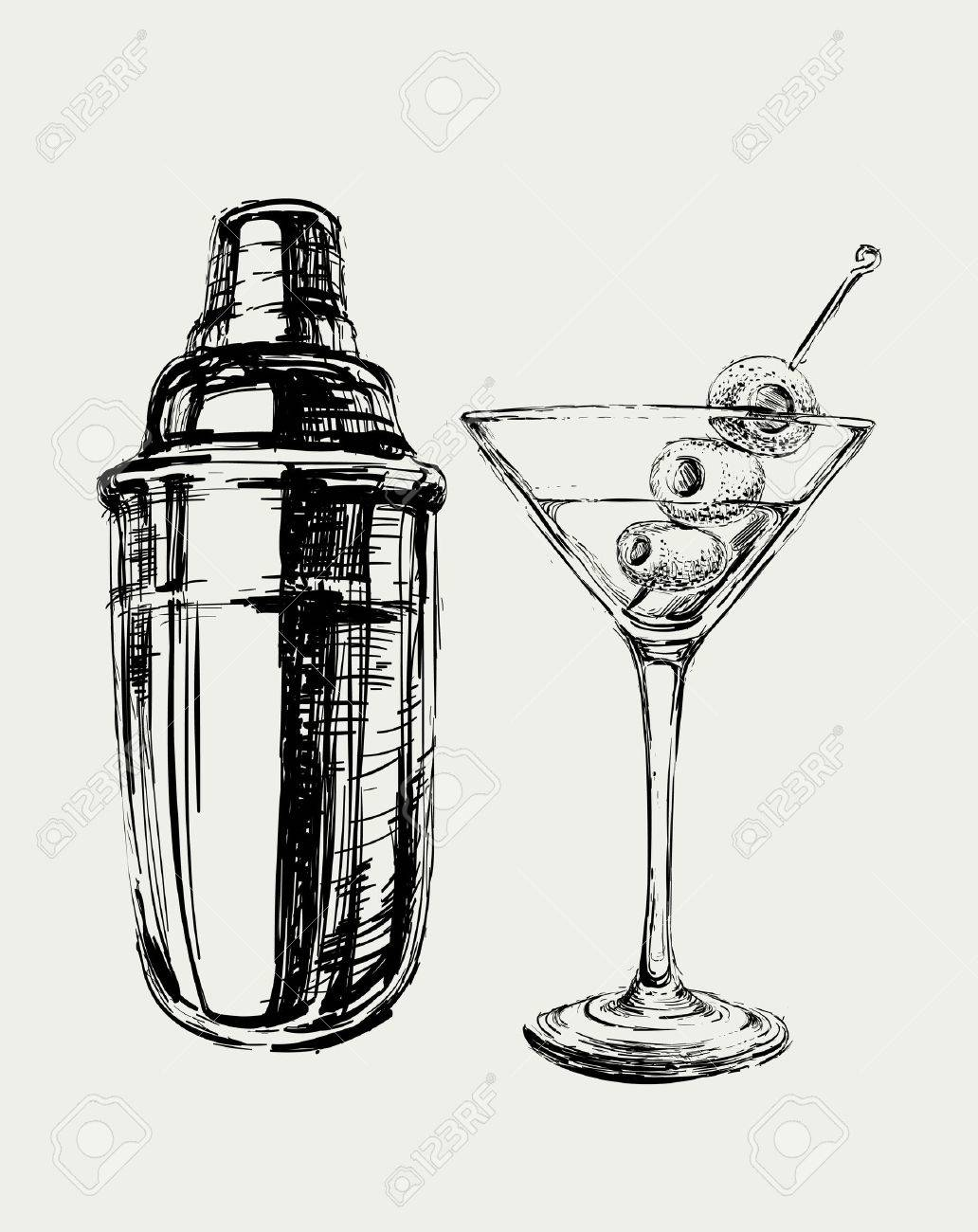 Sketch Martini Cocktails with Olives and Shaker Vector Hand Drawn Illustration - 47099293