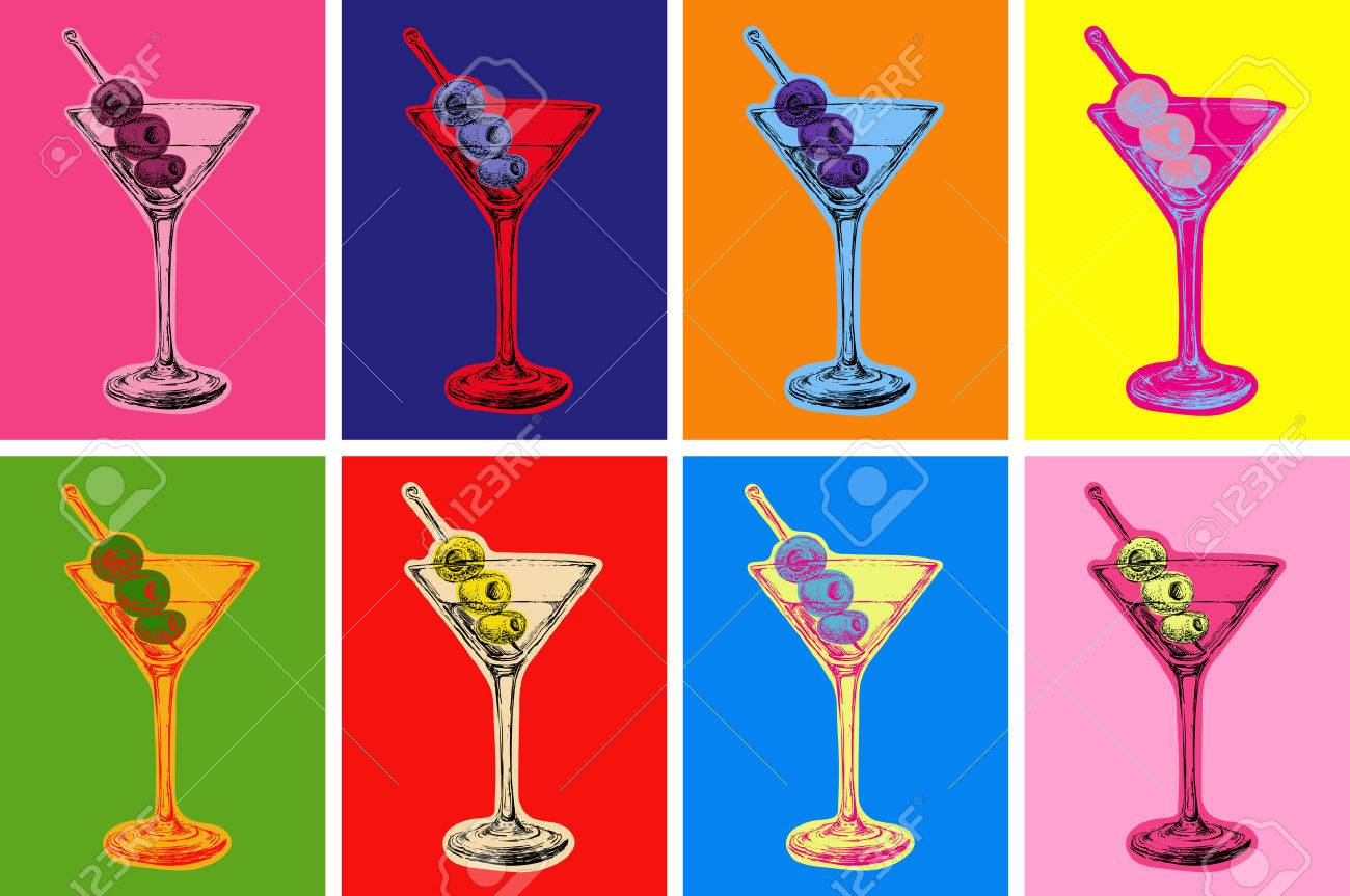 Set of Colored Martini Cocktails with Olives Vector Illustration Set of Colored Martini Cocktails with Olives Vector Illustration - 50243469