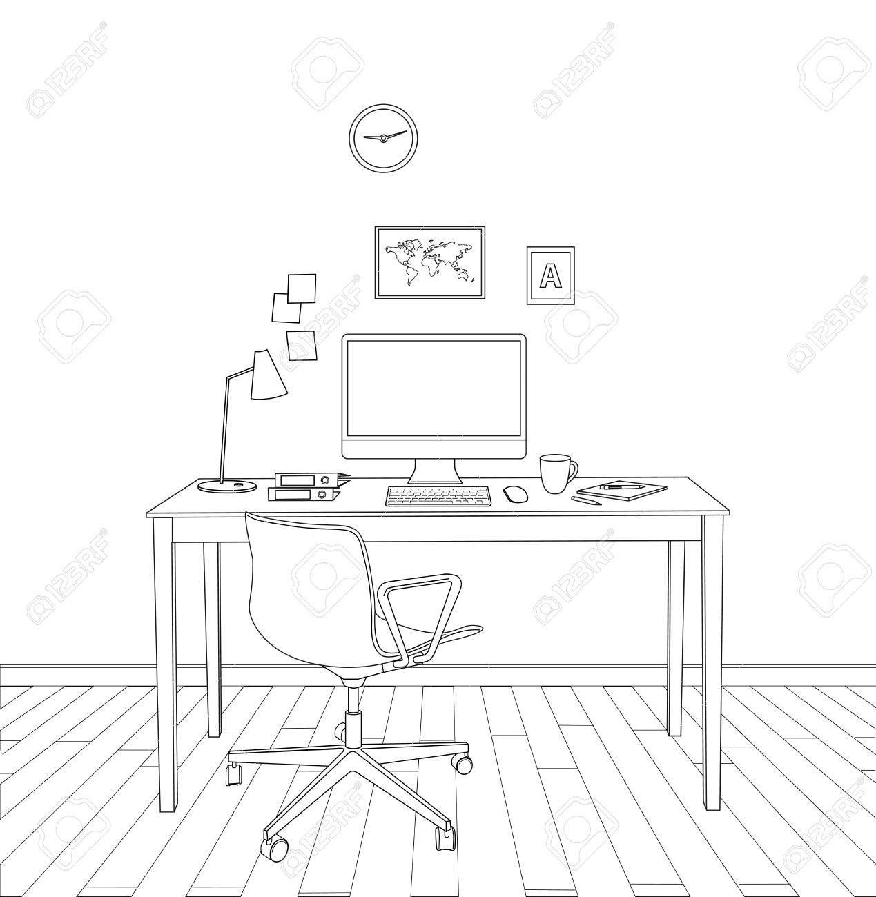 sketch modern office interior - 53274462