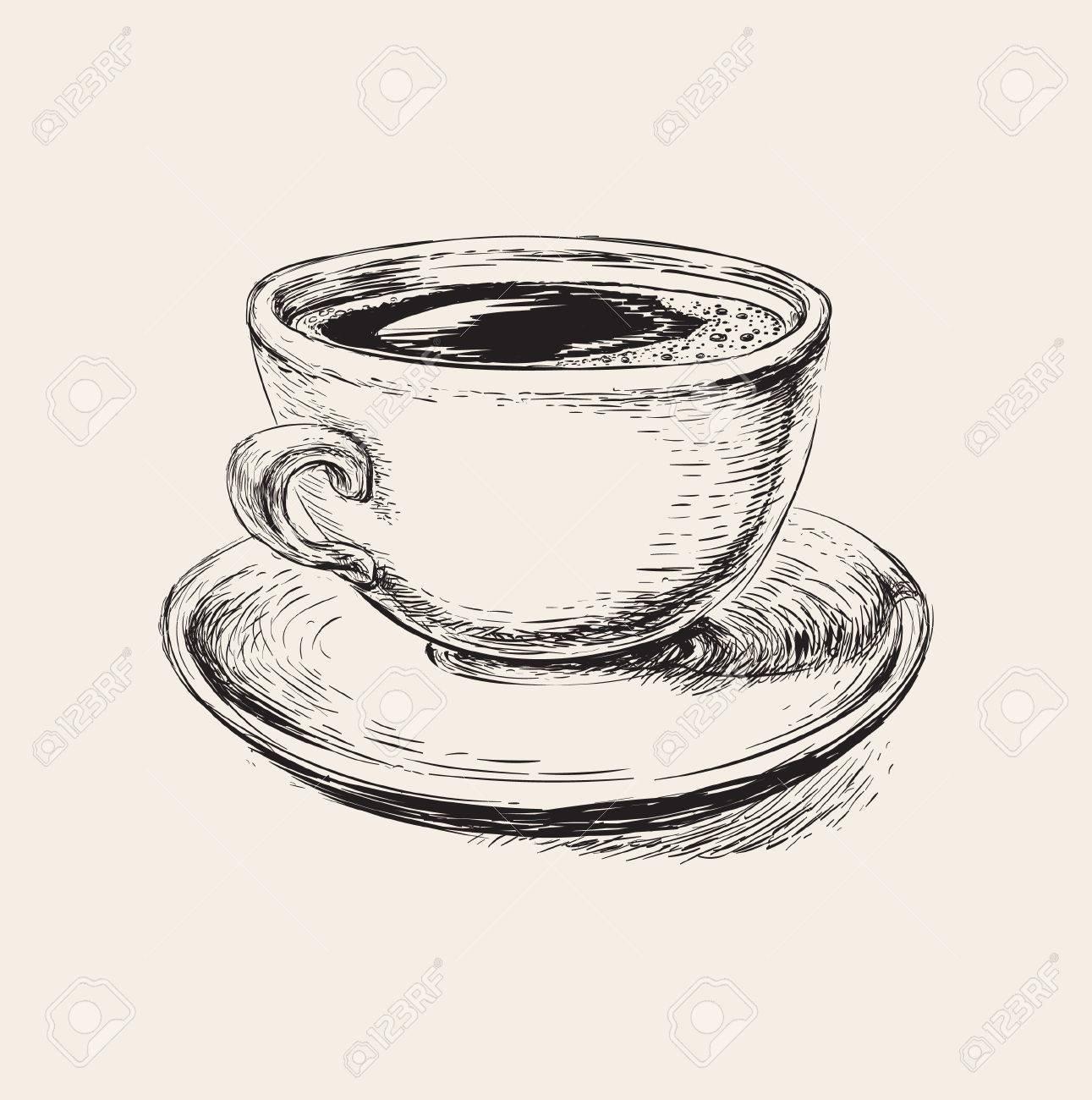 Vettoriale Caffè Disegno Tazza Di Caffè Illustrazione Sketch Tazza