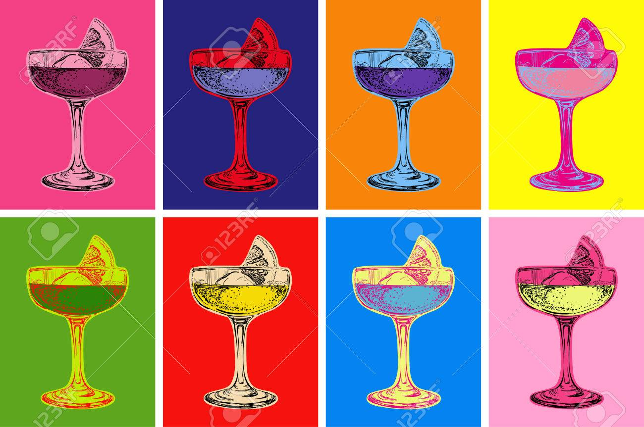 Set of Colored Cocktails Vector Illustration - 59937095