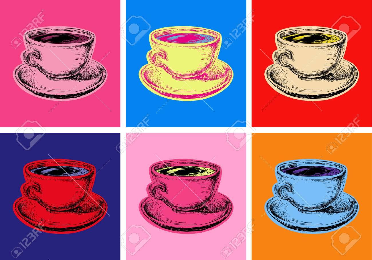 Set Coffee Mug Vector Illustration Pop Art Style - 59940766