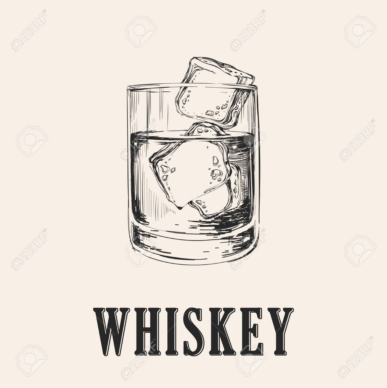 Whiskey Glass. Hand Drawn Drink Vector Illustration. - 69006419