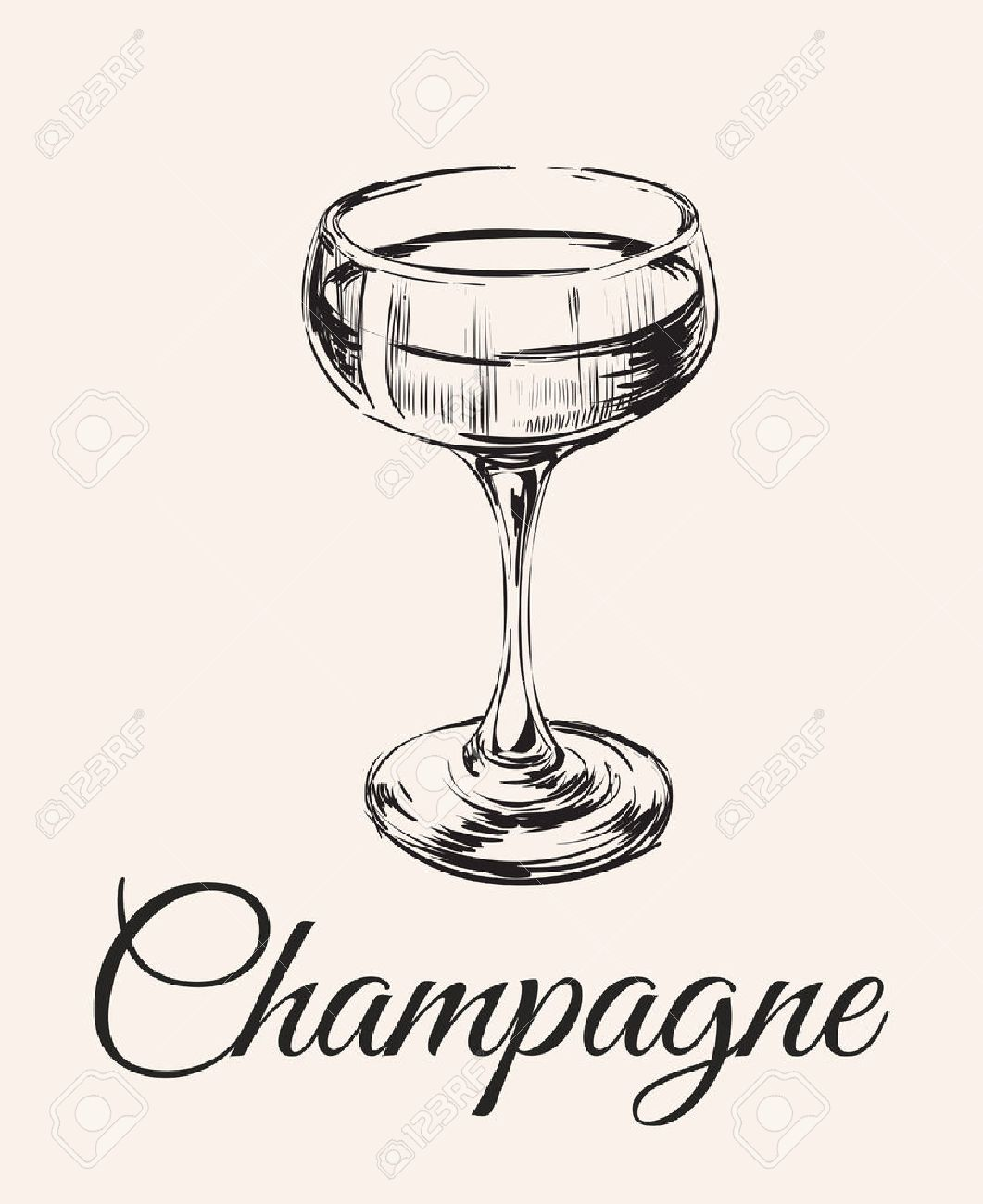 Champagne Glass Hand Drawing Vector Illustration . Alcoholic Drink. - 71946442