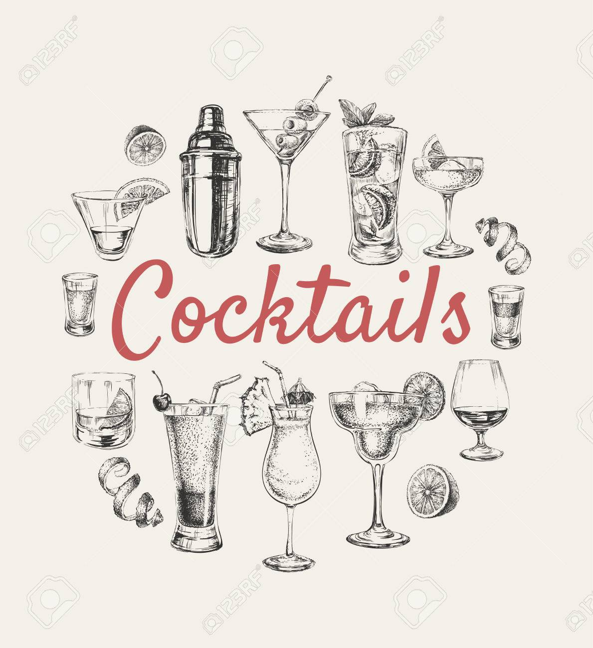 Set of sketch cocktails and alcohol drinks vector hand drawn illustration Set of sketch cocktails and alcohol drinks vector hand drawn illustration - 77839809