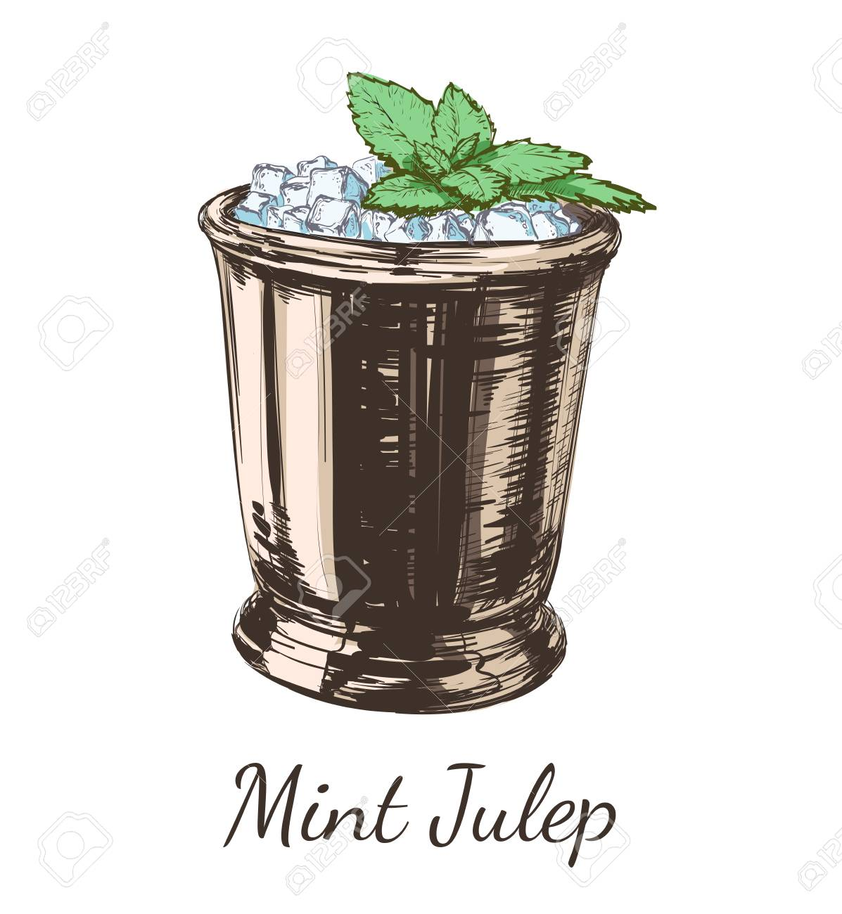 Mint cocktail julep for the derby hand drawing vector illustration alcoholic drink. - 97759386