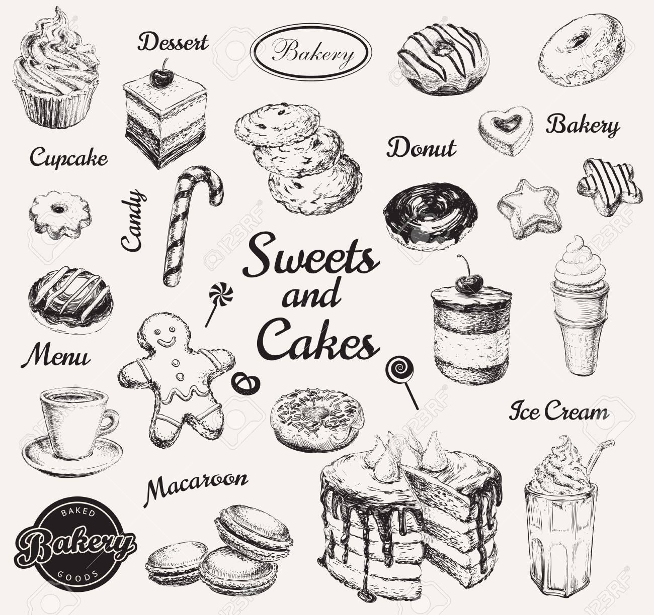 Hand Drawn Set Sweets Dessert Coffee Vector illustration - 106503504