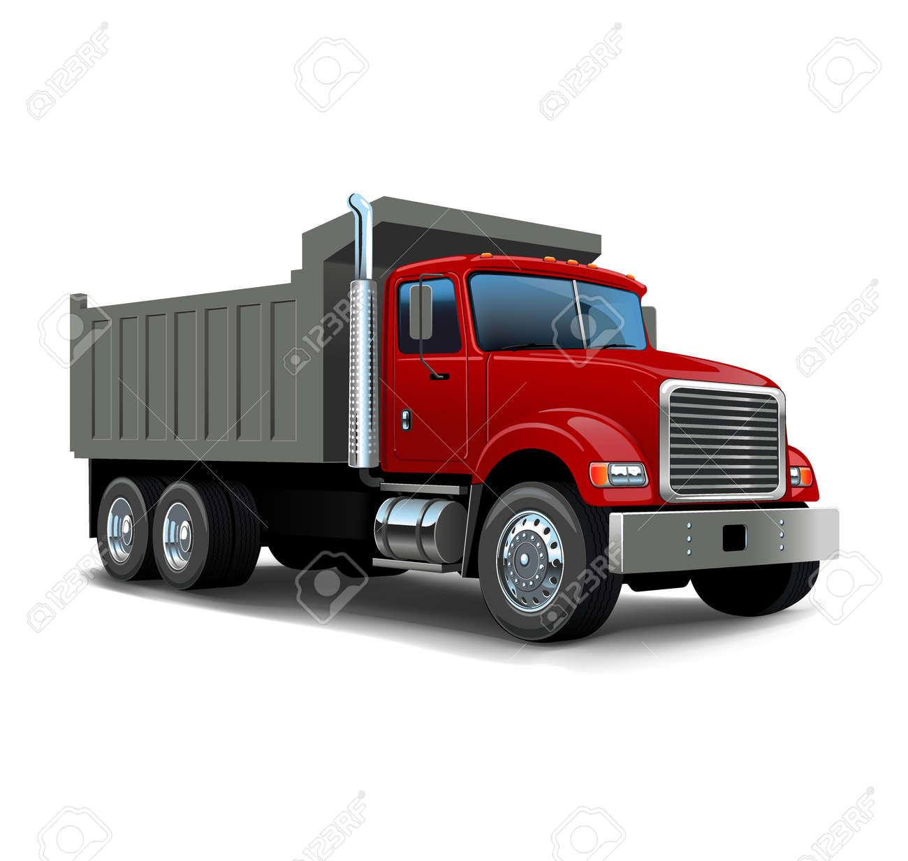 Vector Cartoon Dump Truck. Tipper truck. - 168946325