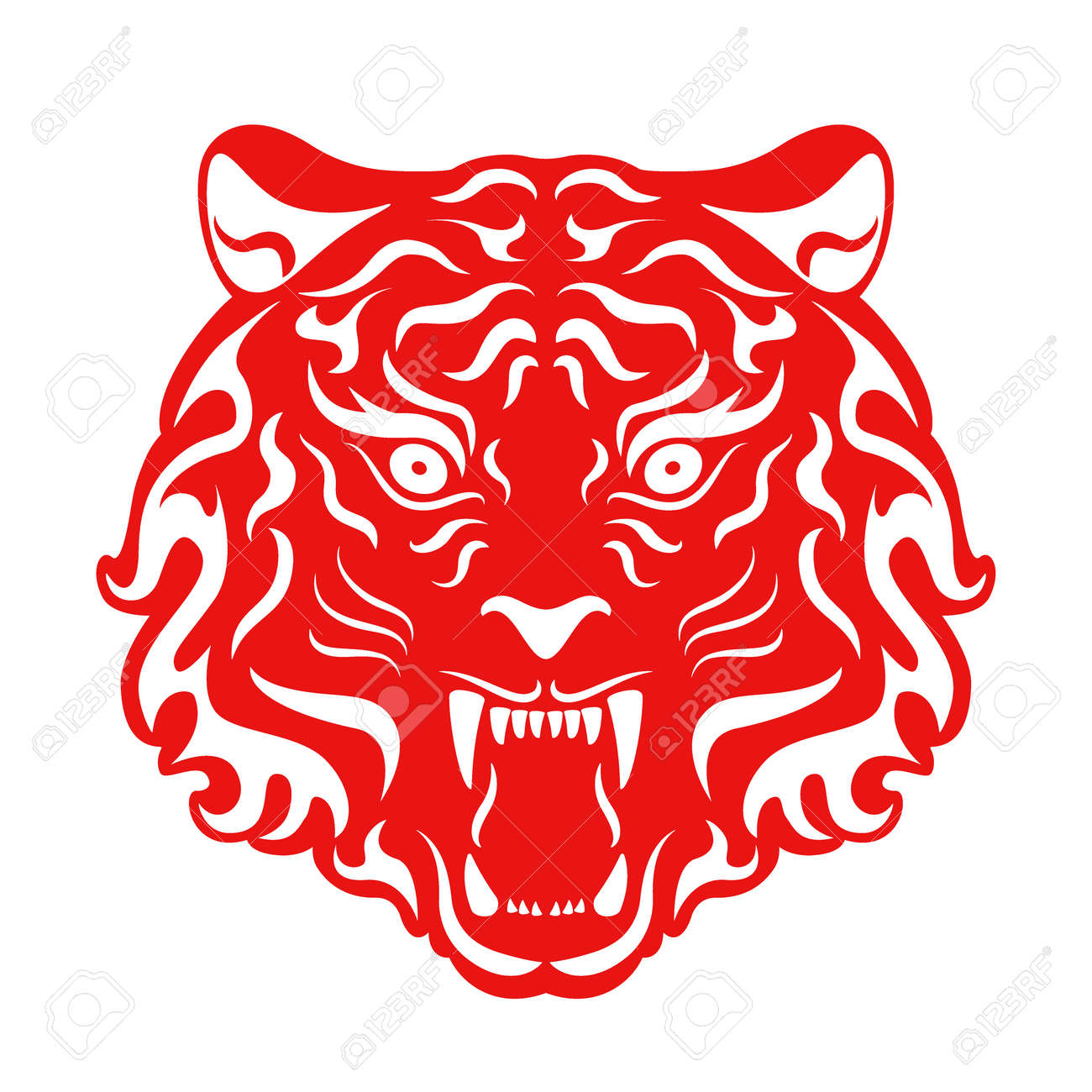 Tiger Roaring Head. Stylized Vector illustration of a Tiger Head. - 168946327