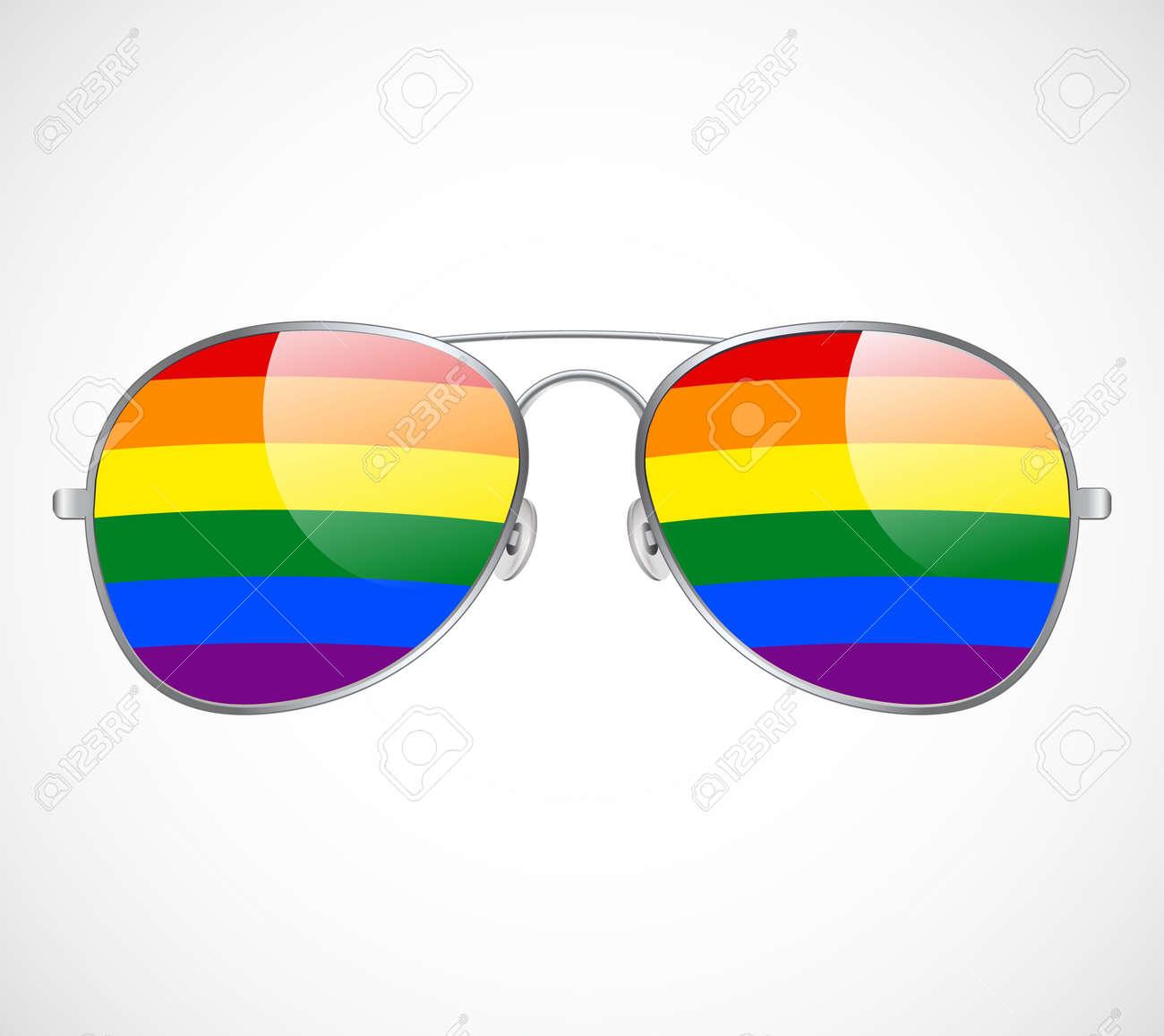 Sunglasses Aviator Abstract Rainbow lenses Vector Illustration Background. LGBT - 170746986