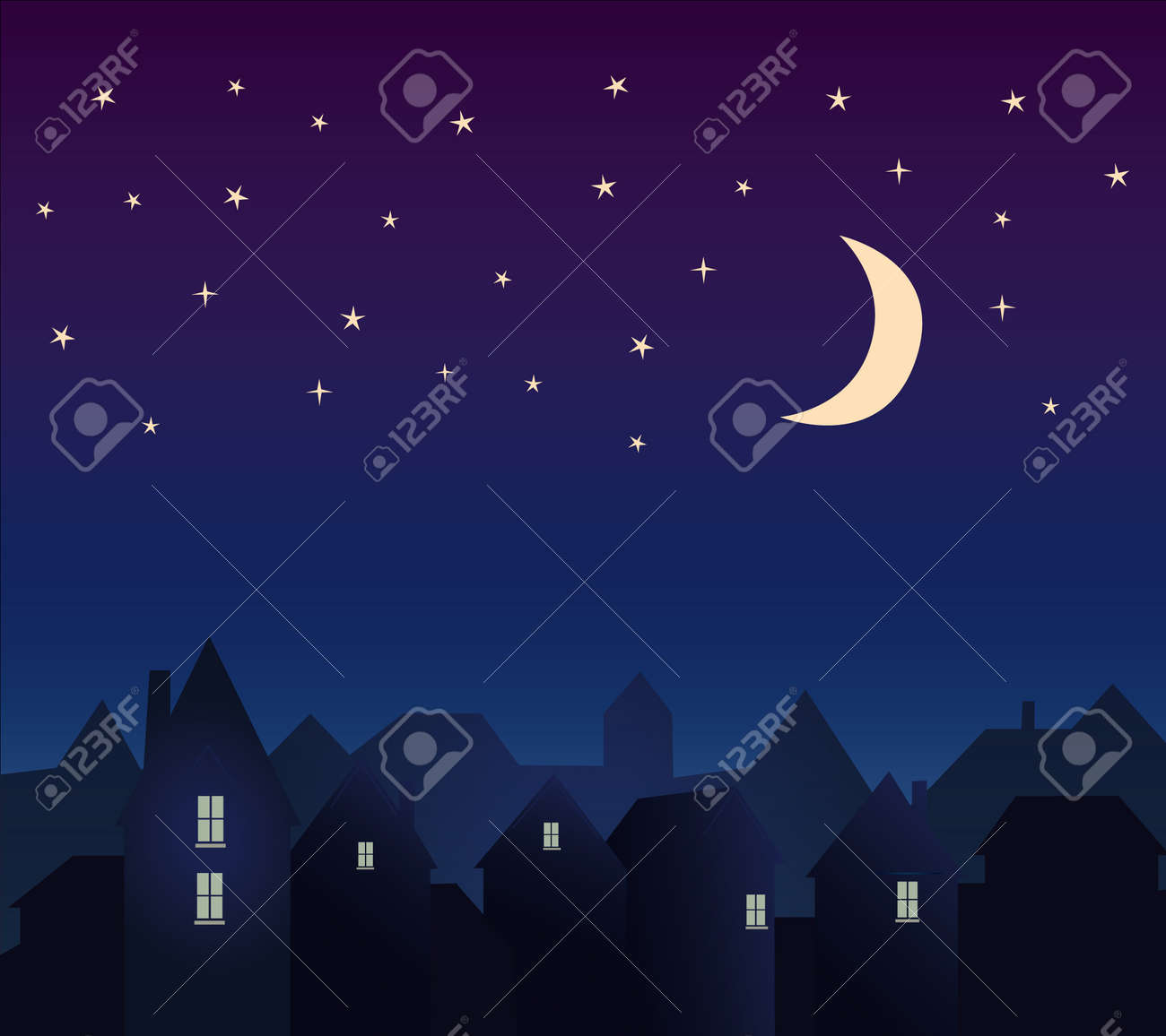 Silhouette of the city and night sky with stars and moon - 170746984