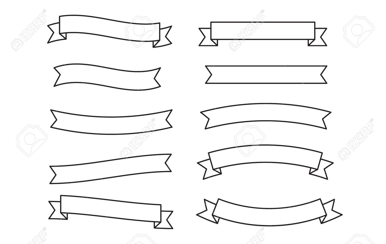 Set Banners, Ribbons, Label, Scroll. Design Logo Template. Simple ribbon black contour symbol isolated on white. Banners, Ribbons, Label, Scroll. Banners, Ribbons, Label, Scroll. - 171300030