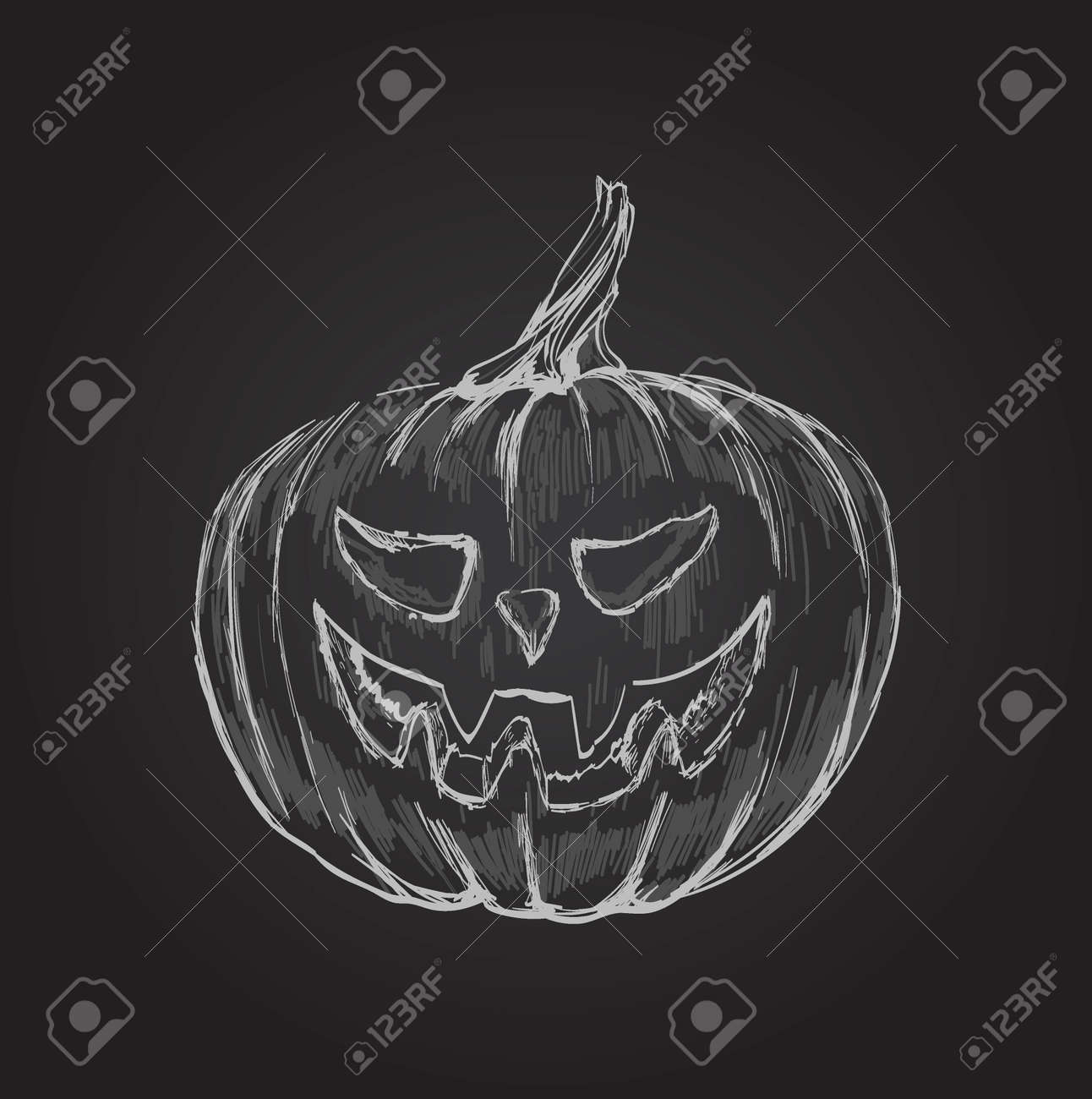 Halloween Pumpkin Hand Drawing Vector Illustration. - 171314214