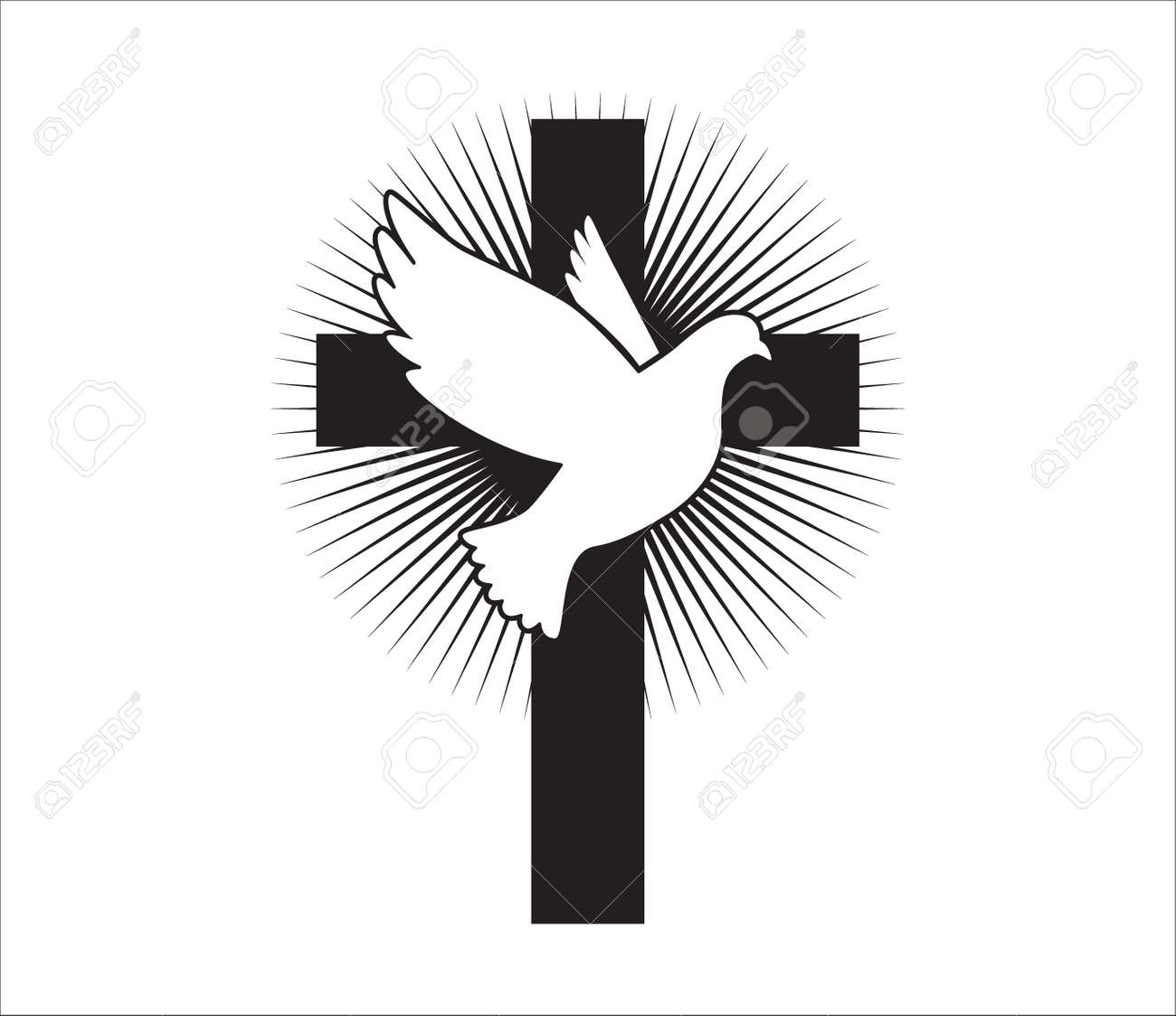 Dove flying with a Symbol of Religion. Dove Of Peace. - 171392310