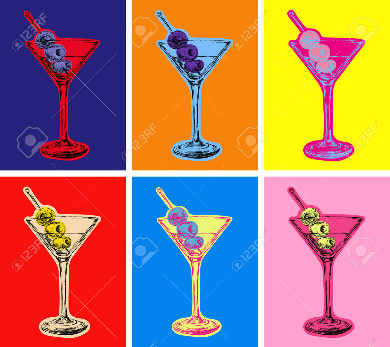 Set of Colored Martini Cocktails with Olives Vector Illustration - 171619480