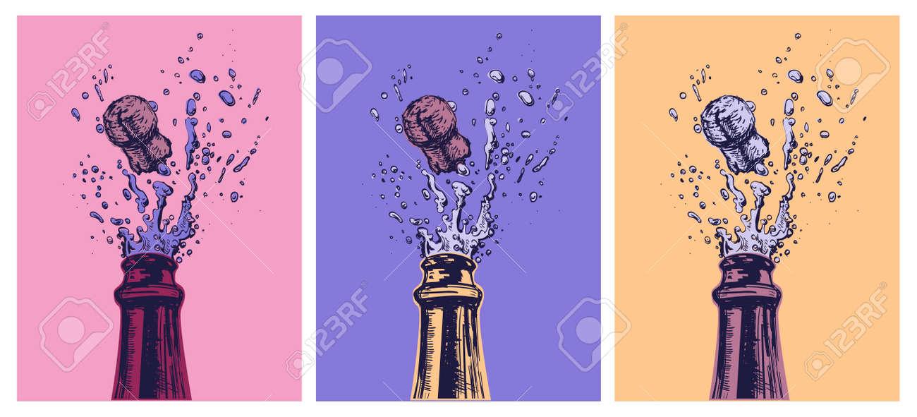 Hand drawn Illustration of Champagne explosion. Hand drawn Illustration of Champagne explosion. Vector Illustration. Pop Art. Modern art - 171881568