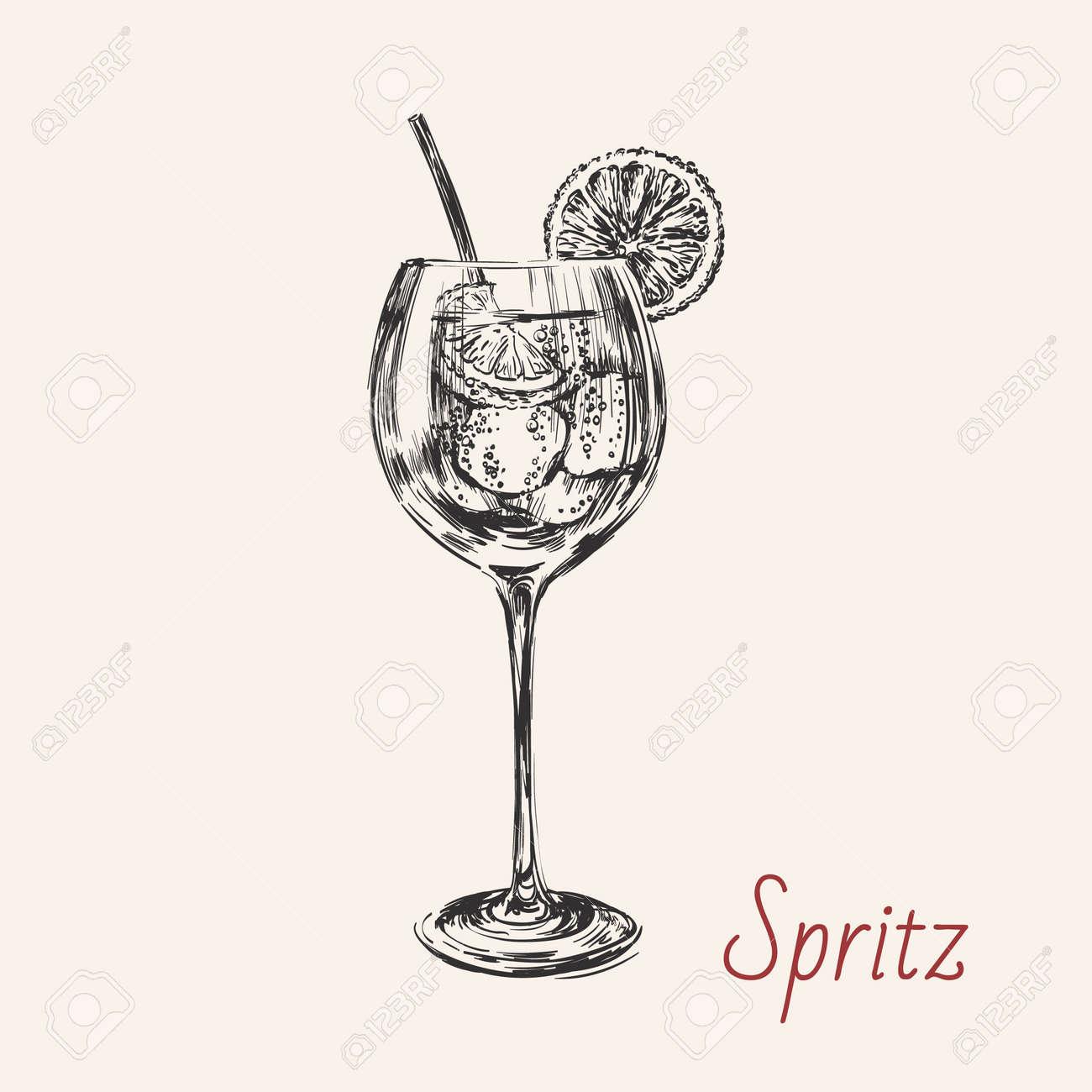Spritz Hand Drawn Summer Cocktail Drink Vector Illustration. - 171942673