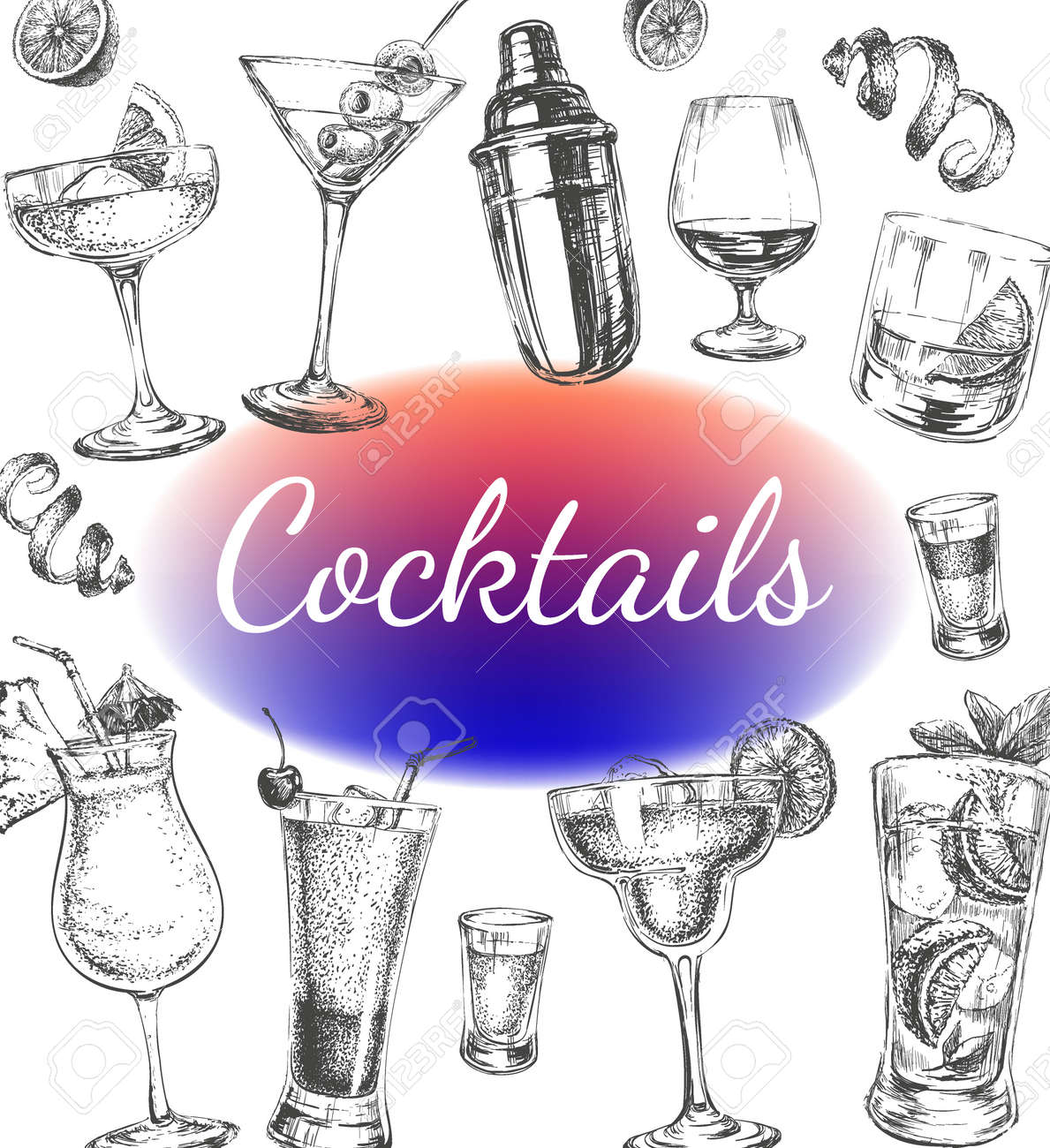 Cocktails and Alcohol Drinks Vector Hand Drawn Illustration Poster - 172543944