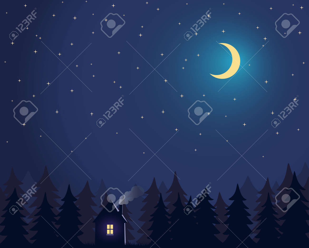 House and tree and night sky with stars and moon - 172543950