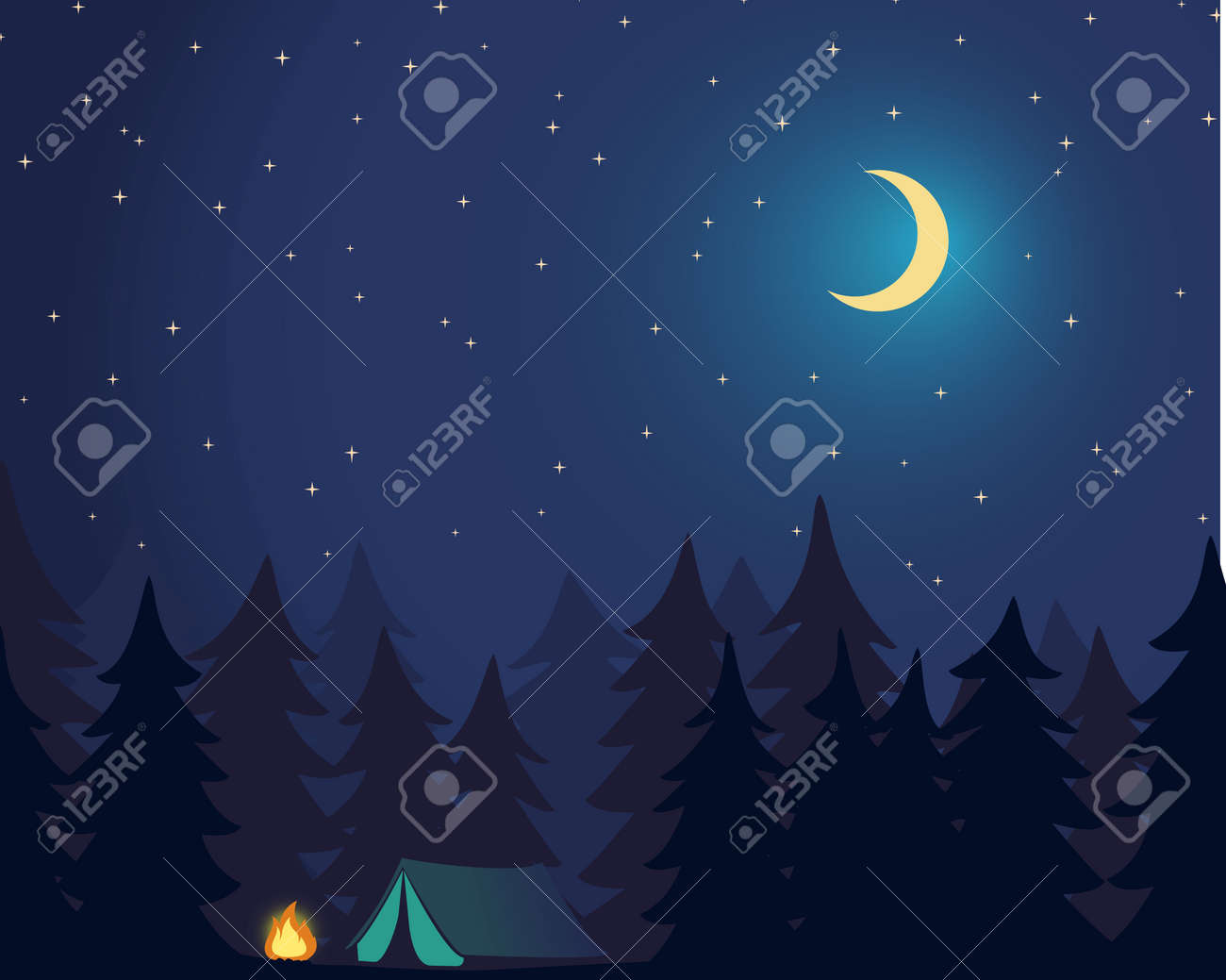 Camp Outdoor. Campground in Forest. Night sky with stars and moon. Vector Illustration - 172543956