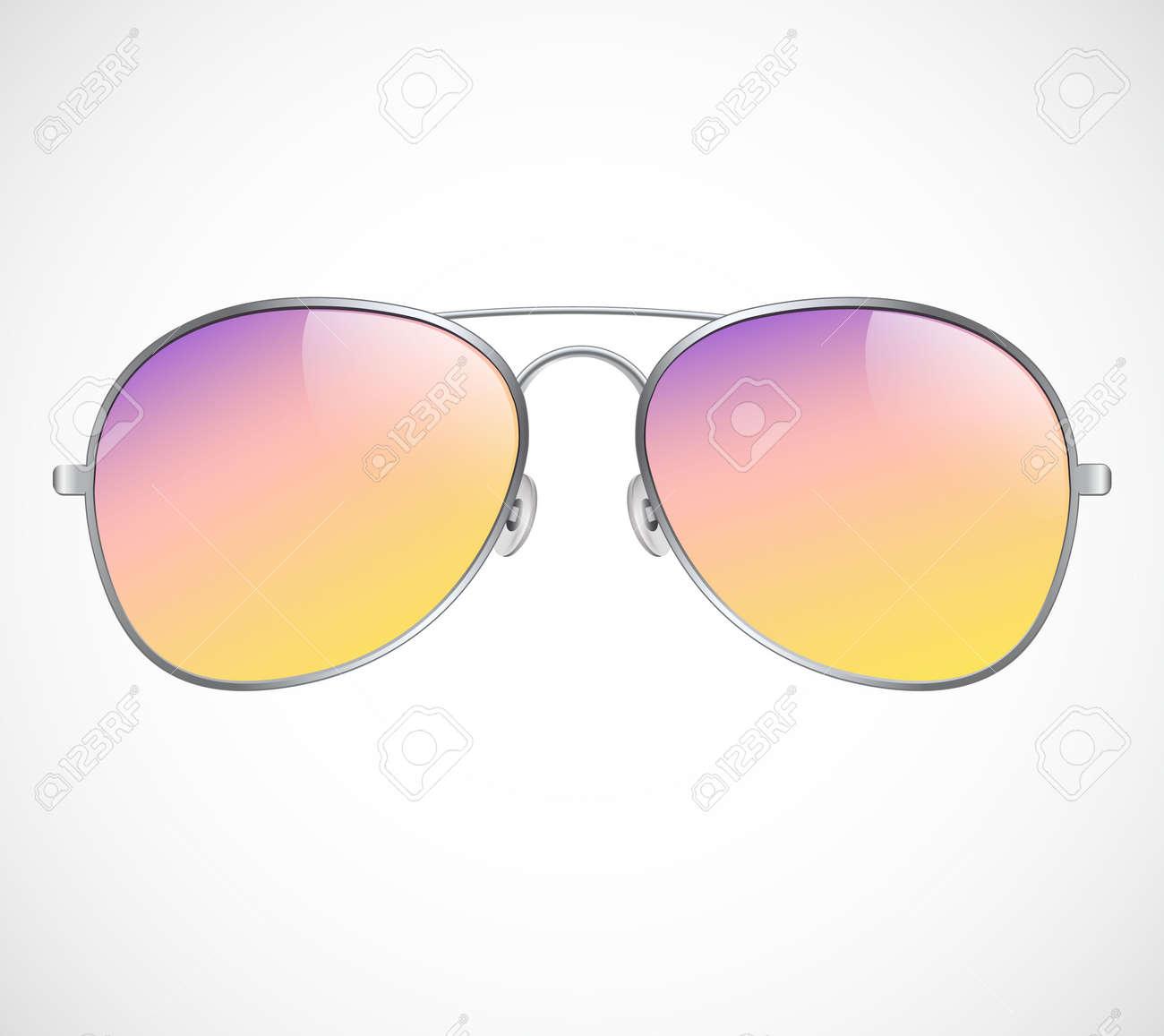 Aviator Sunglasses Illustration Background. Sunset. Police isolated sunglasses. - 173035242