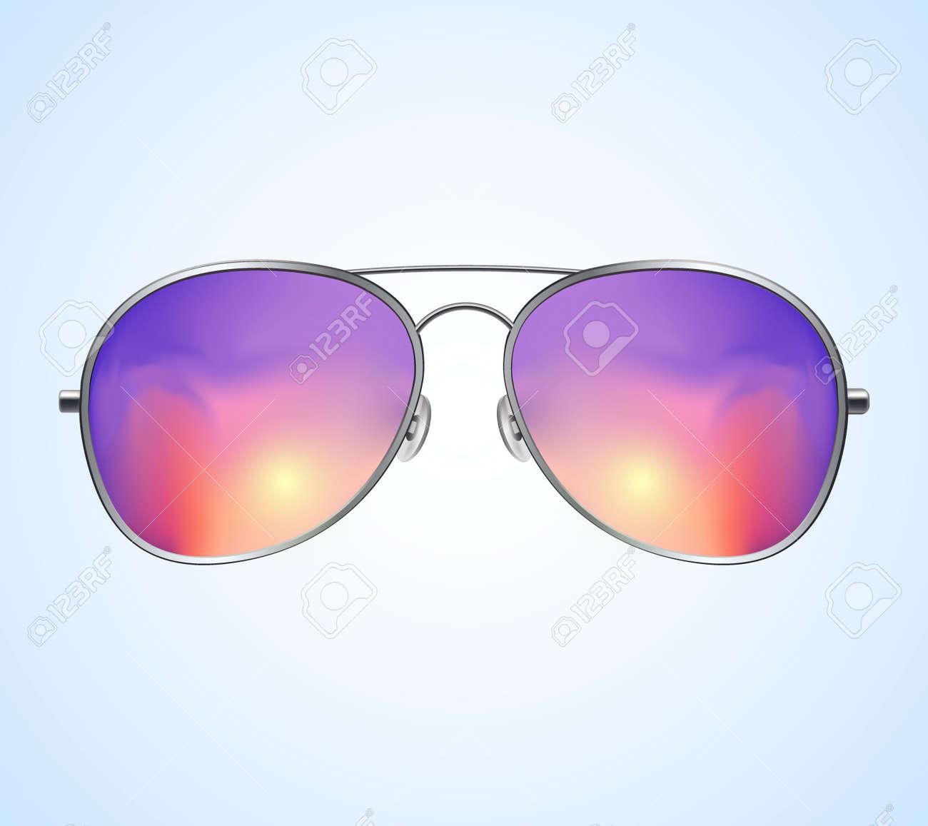 Aviator Sunglasses Illustration Background. Sunset. Police isolated sunglasses. - 172594300