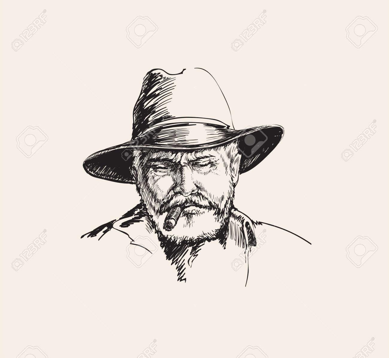 Portrait Cowboy, farmer. rancher . Hand drawn sketch vector illustration - 173035249